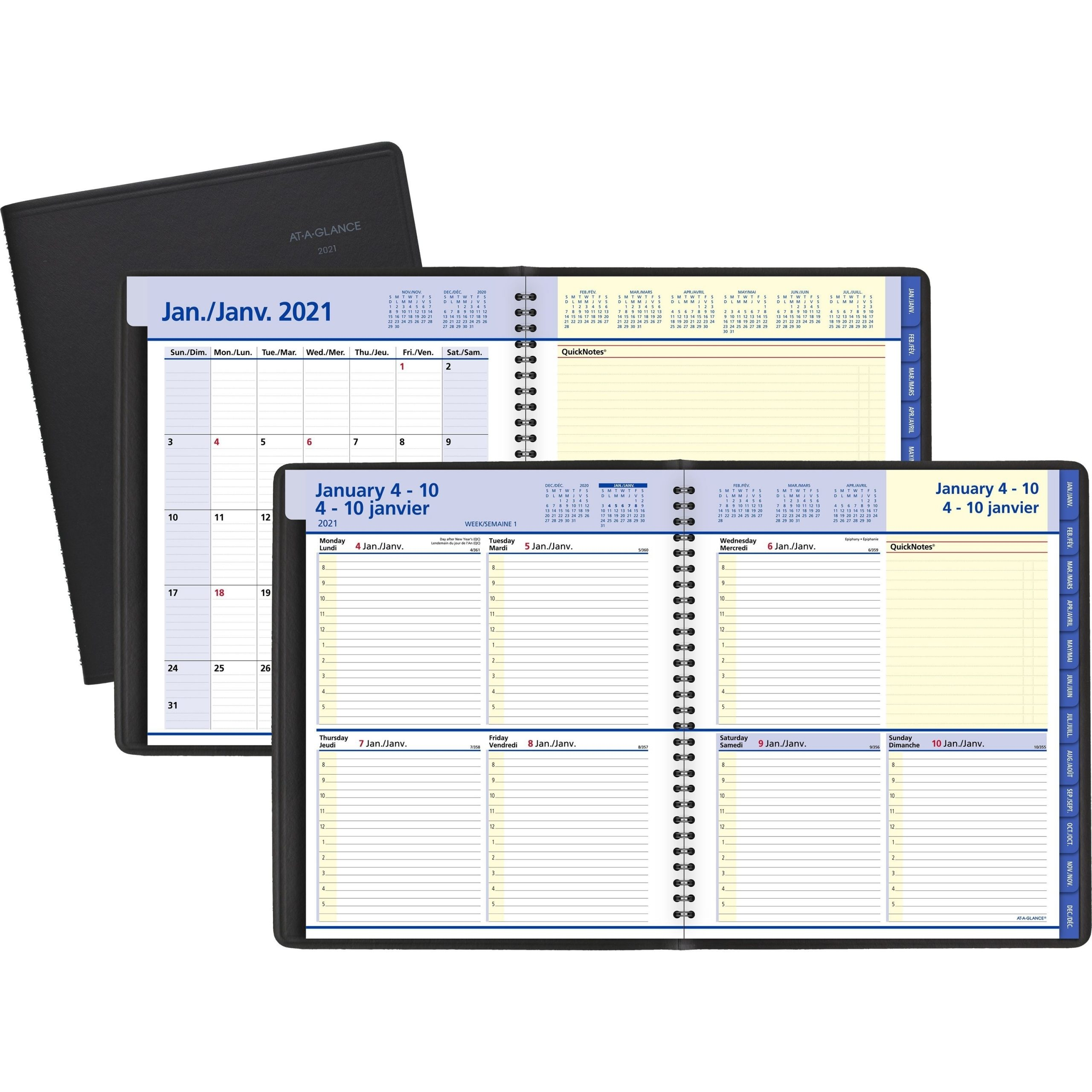 At-A-Glance Quicknotes Planner - Julian Dates - Weekly, Monthly - 1 Year -  January 2021 Till December 2021 - 8:00 Am To 5:00 Pm - 1 Week Double Page