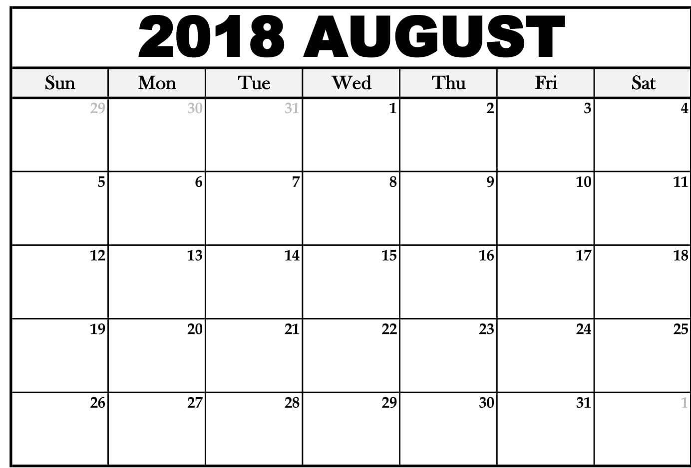 August 2018 Calendar Page Word Excel Pdf Printable Template