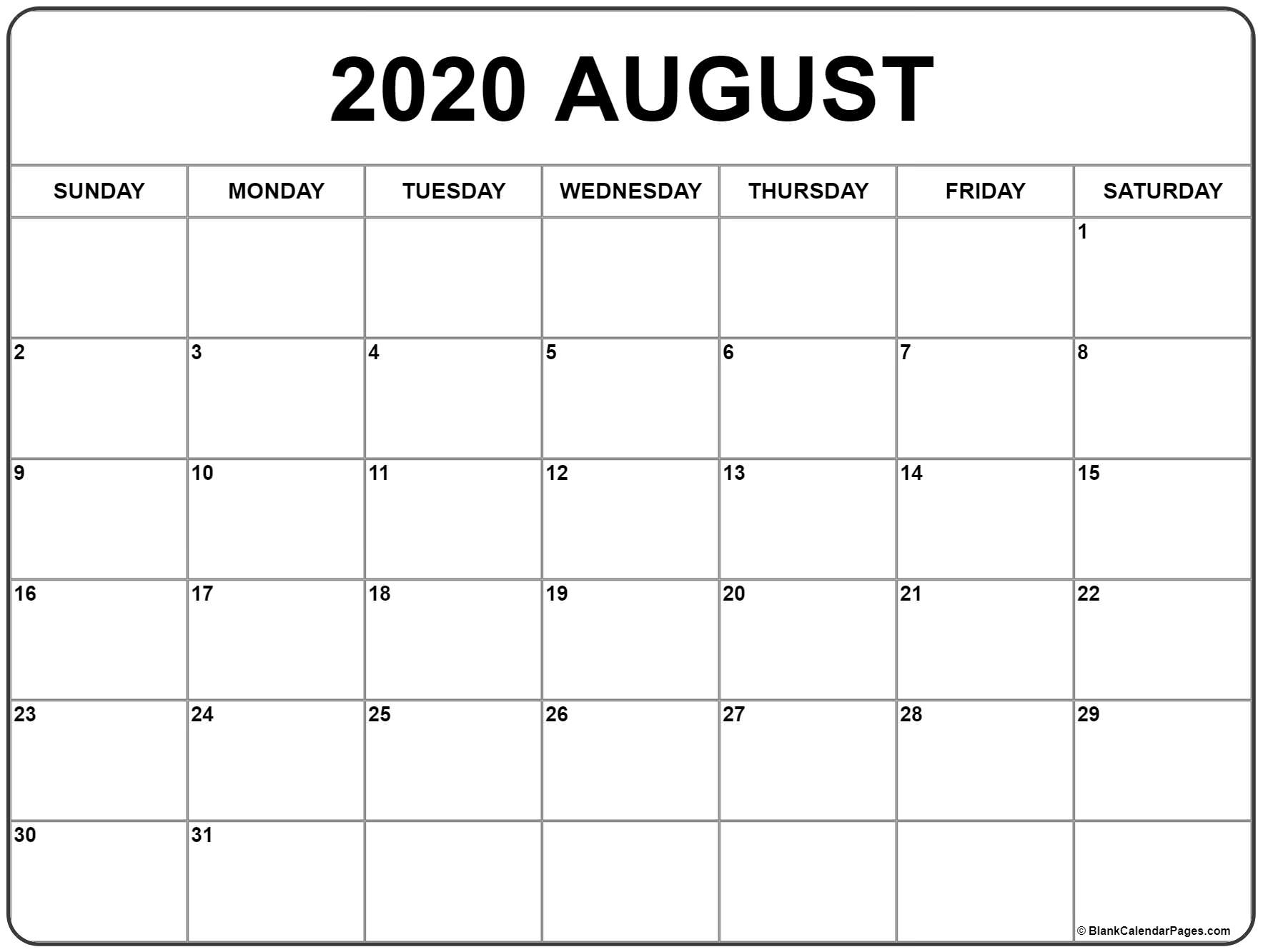 August 2020 Calendar | Free Printable Monthly Calendars in 2020 Monthly Calendar Monday Start Printable Free