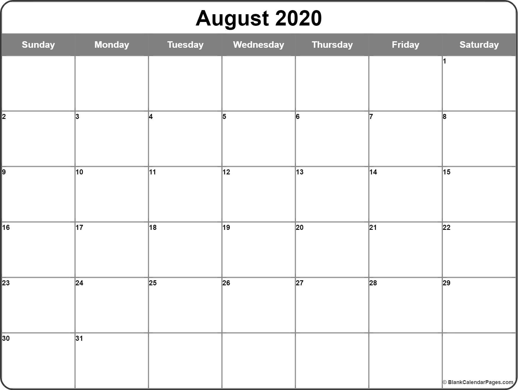 August 2020 Calendar | Free Printable Monthly Calendars pertaining to Printable Calendar Large Box 2020