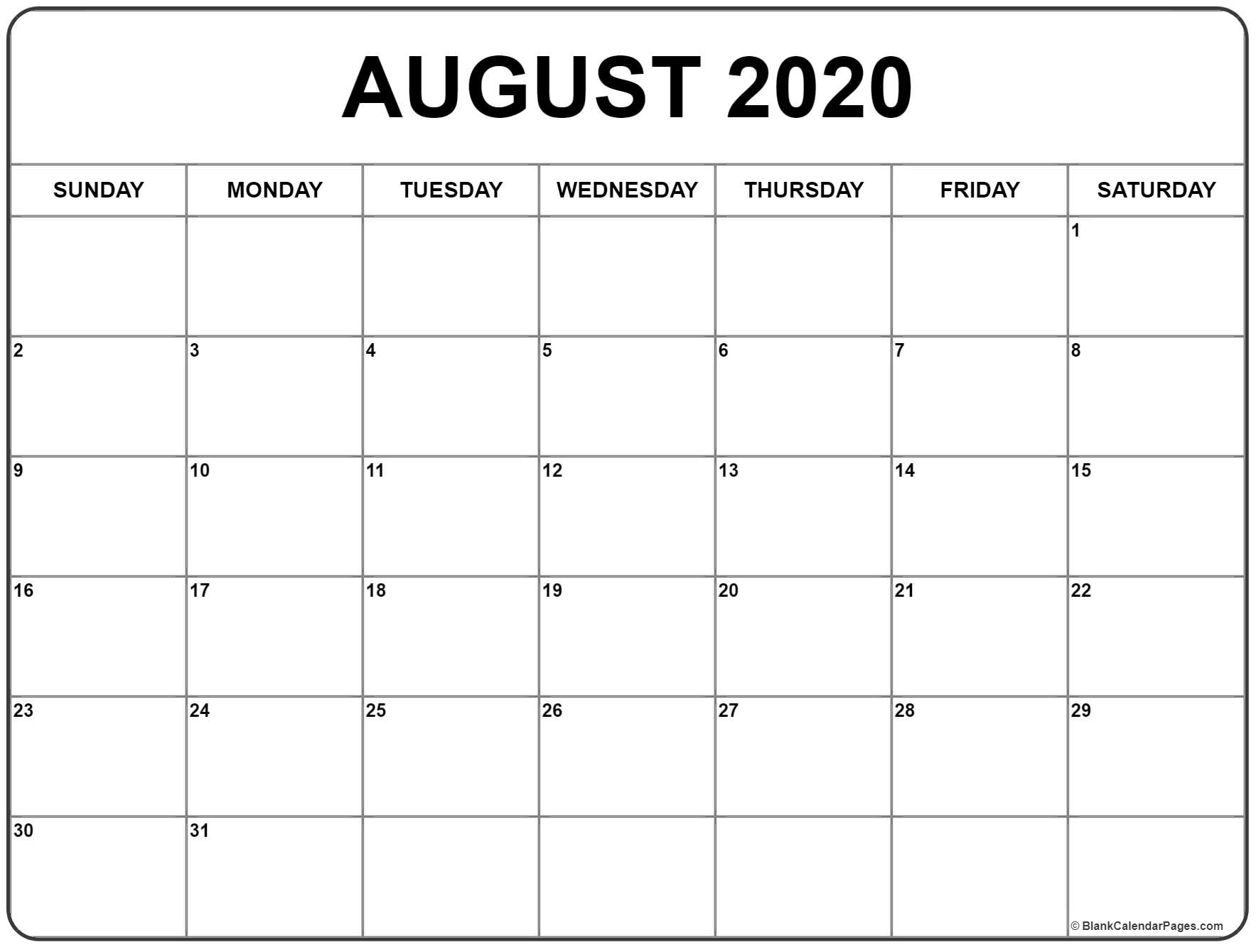 August 2020 Calendar | Free Printable Monthly Calendars within Large Box Calendar 2020 Printable