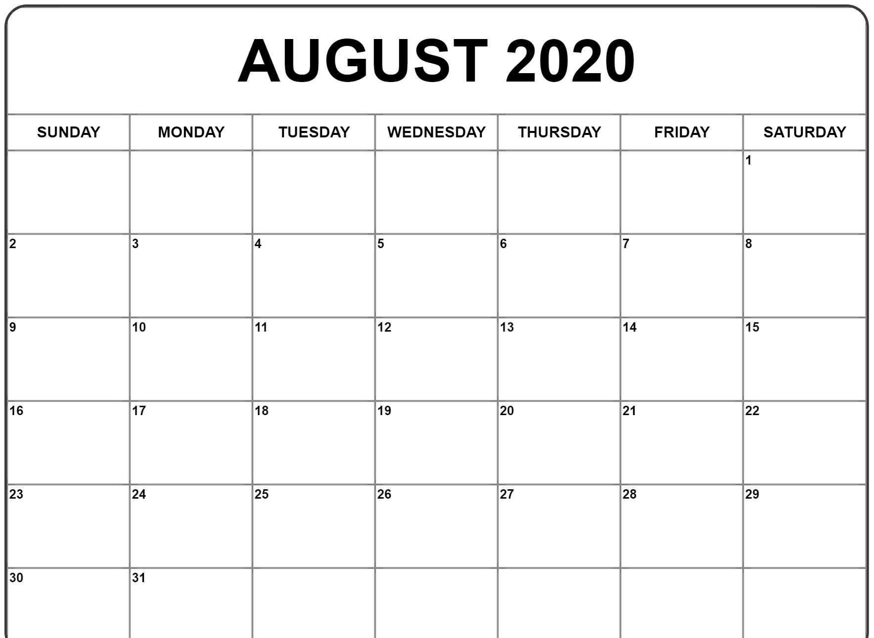 August 2020 Calendar In 2020 | Monthly Calendar Printable regarding 8.5 X 11 Free Printable Monthly Calendar 2020