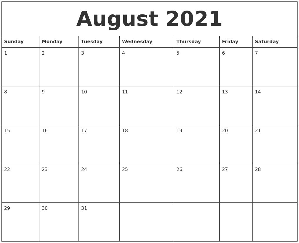August 2021 Free Printable Calendar Templates
