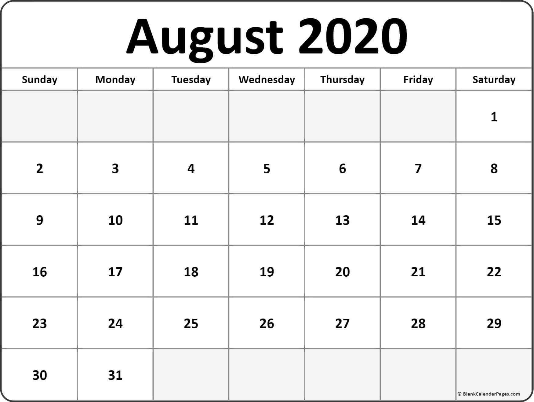 August Calendar 2020 Printable Pdf In 2020 | August Calendar