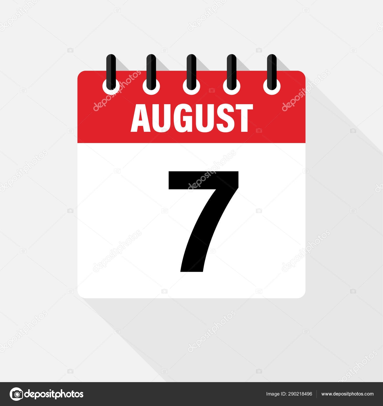 August . Vector Flat Daily Calendar Icon. Date And Time, Day, Month.  Holiday. 290218496