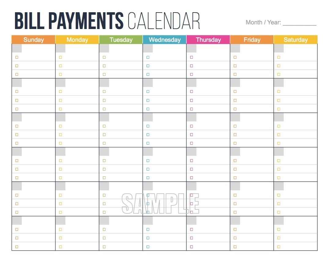 Awesome Free Printable Bill Payment Calendar   Free