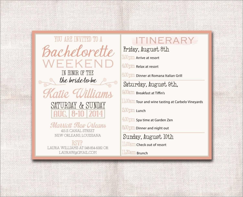 Bachelorette Itinerary Template Free ~ Addictionary