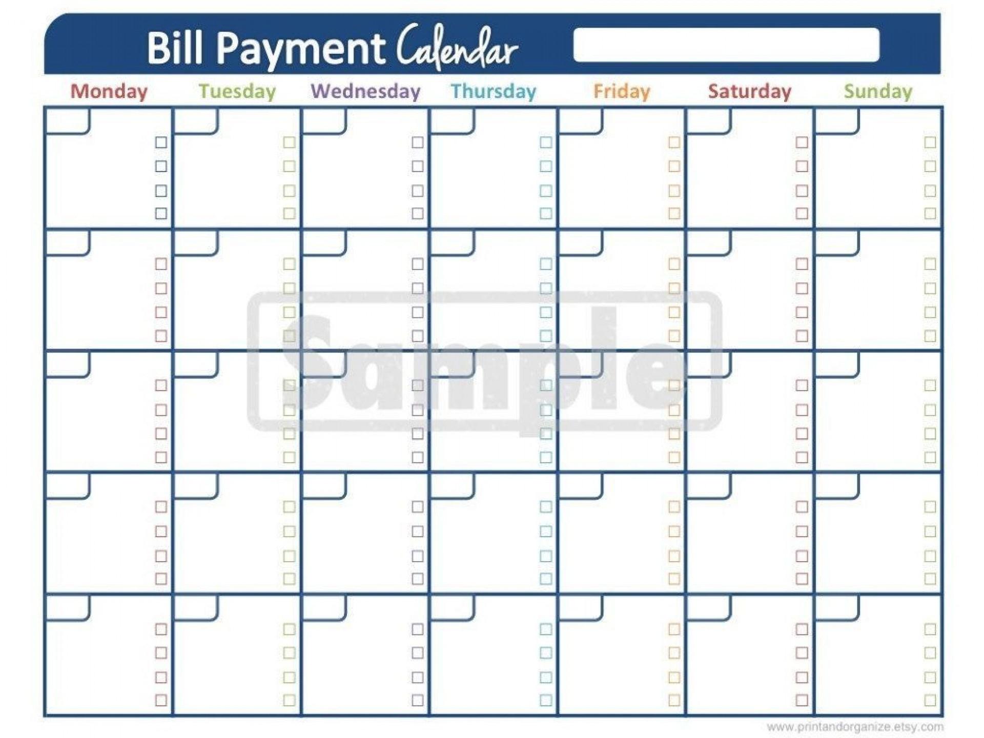 Bill Pay Calendar Template ~ Addictionary