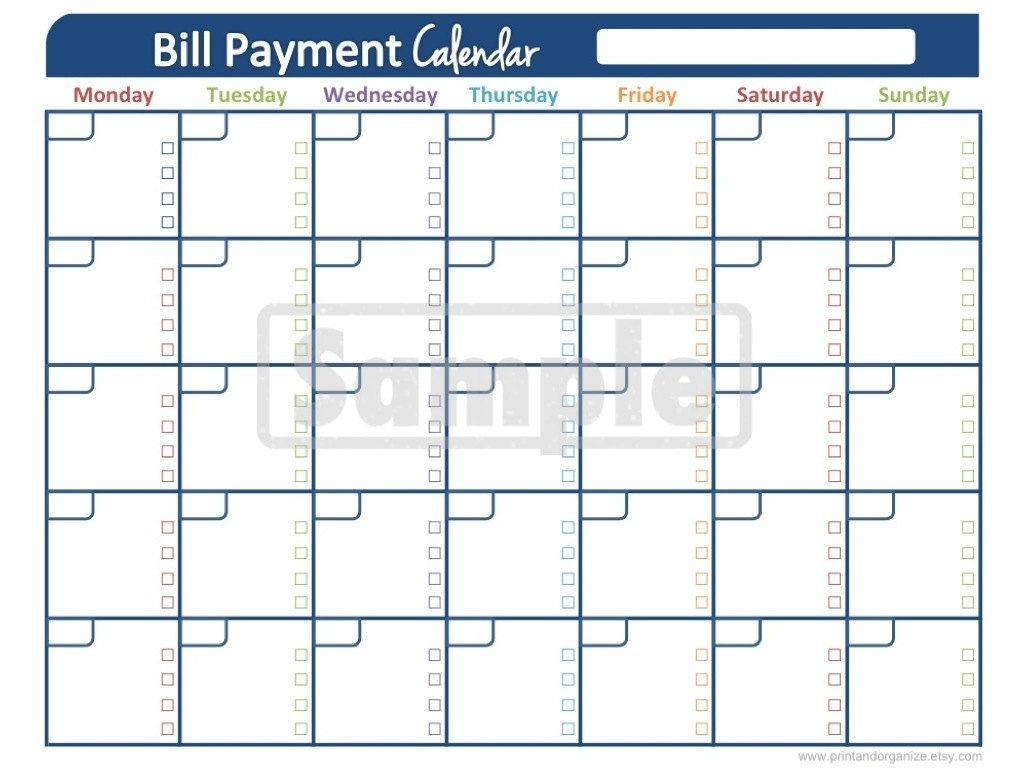 Bill Payment Calendar - Printables For Organizing Your