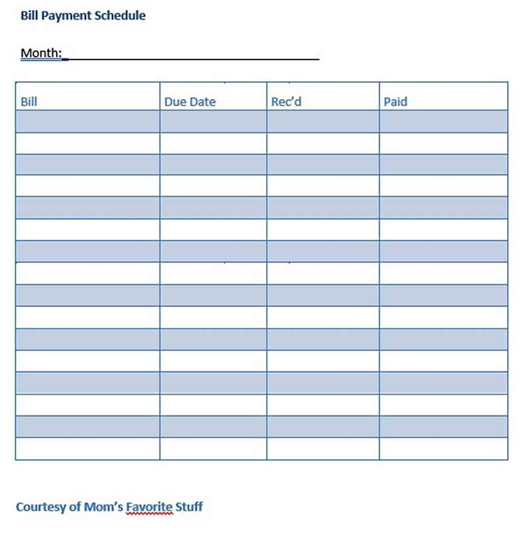 Bill Payment Schedule Sample Template | Think Moldova