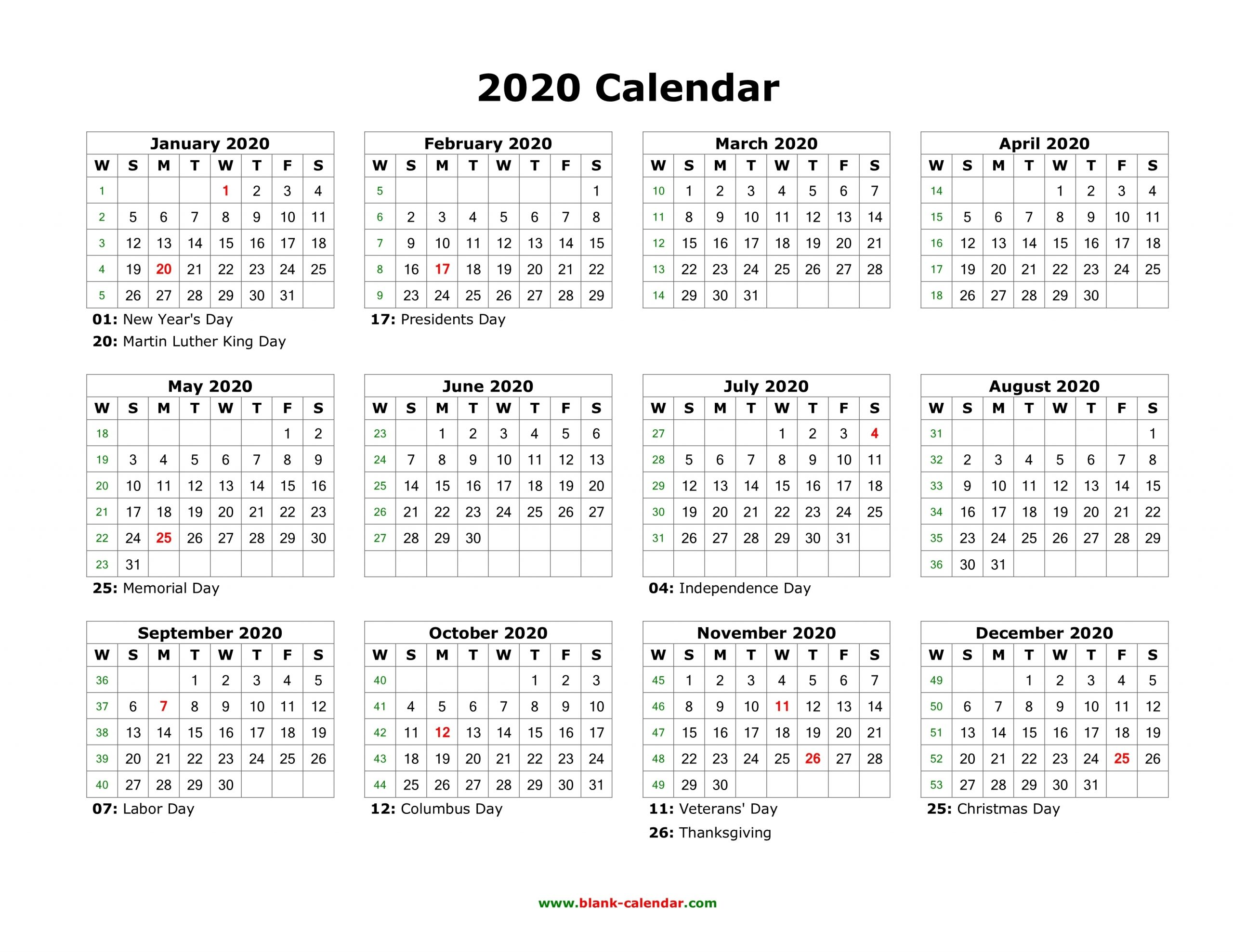 Blank Calendar 2020 | Free Download Calendar Templates for Year Calendar 2020 With Space To Write Int