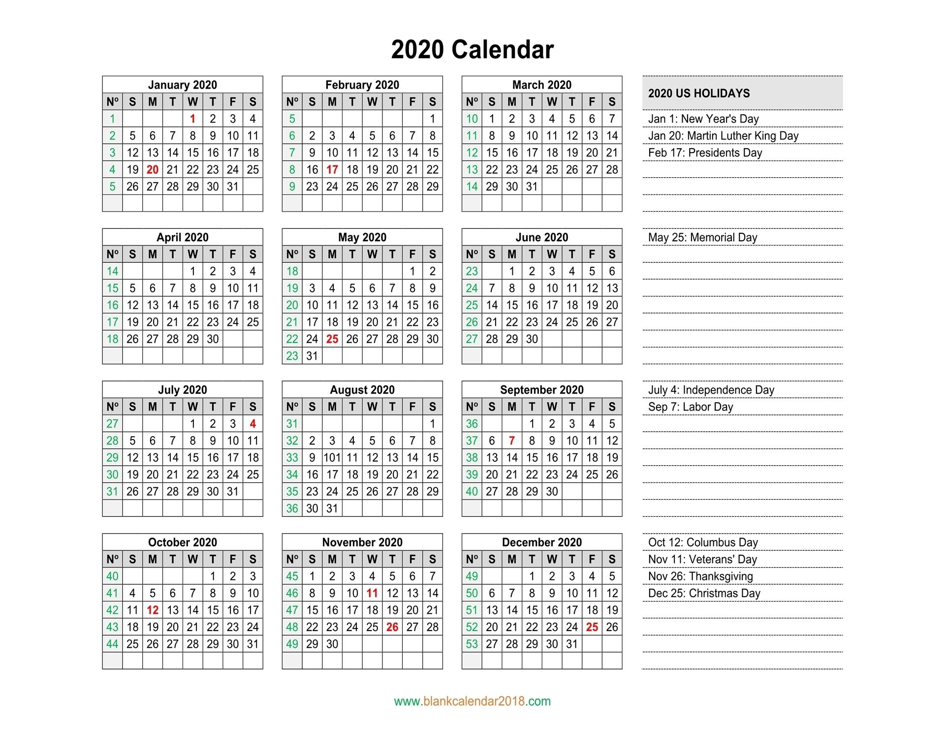 Blank Calendar 2020 regarding 2020 Year Calendar Printable With Space