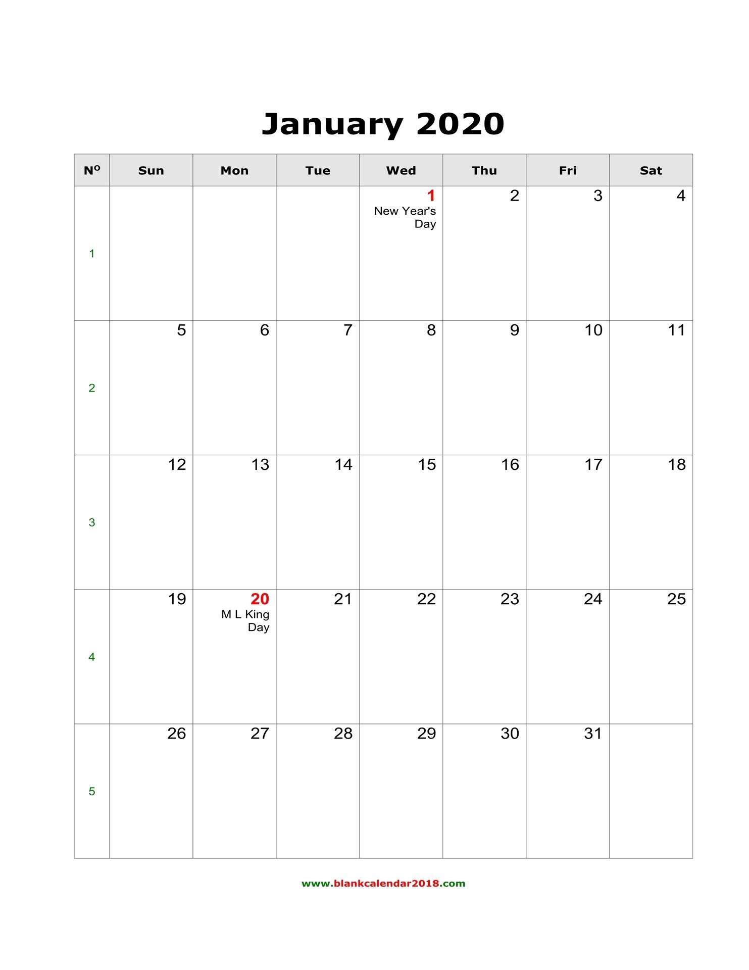 Blank Calendar 2020 within 2020 Calendar Printable Free Word Monthly