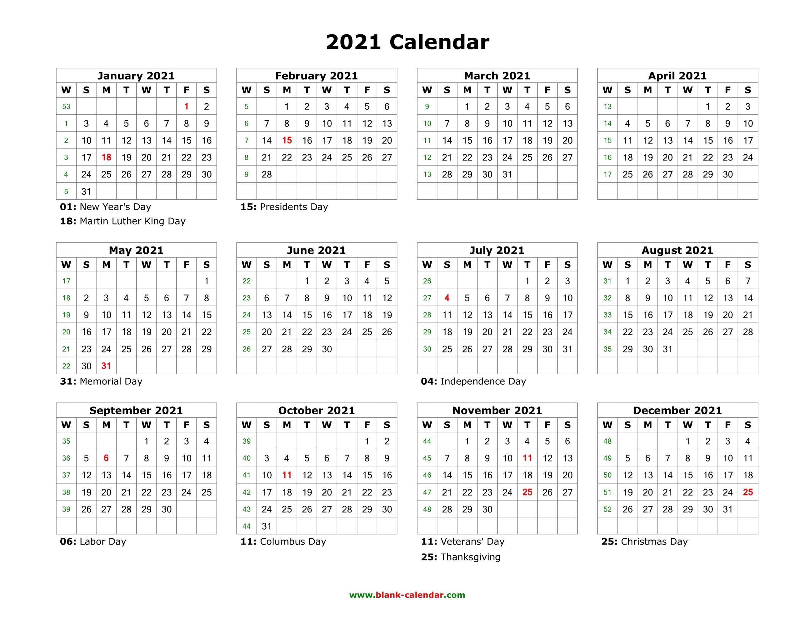Blank Calendar 2021 | Free Download Calendar Templates