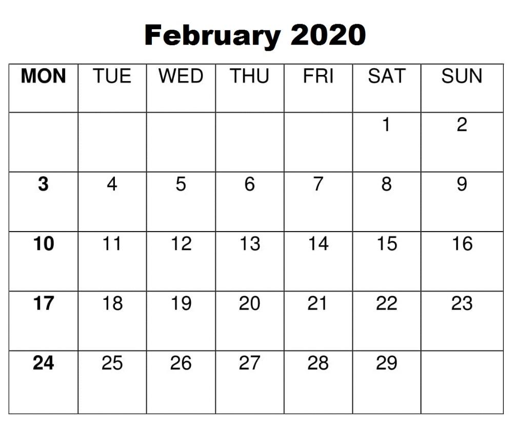 Blank February 2020 Calendar | Calendar Word, Calendar within Large Box Calendar 2020 Printable