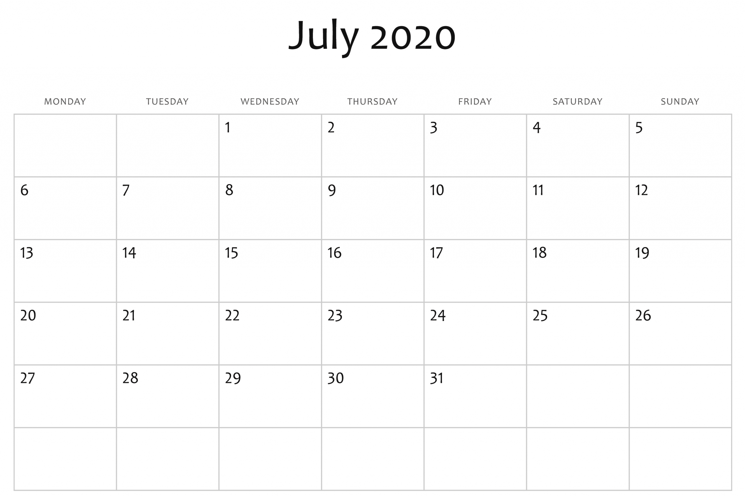 Blank July 2020 Calendar Word | July Calendar, Calendar with Printable 2020 Calendar Monthly No Download Free Excel