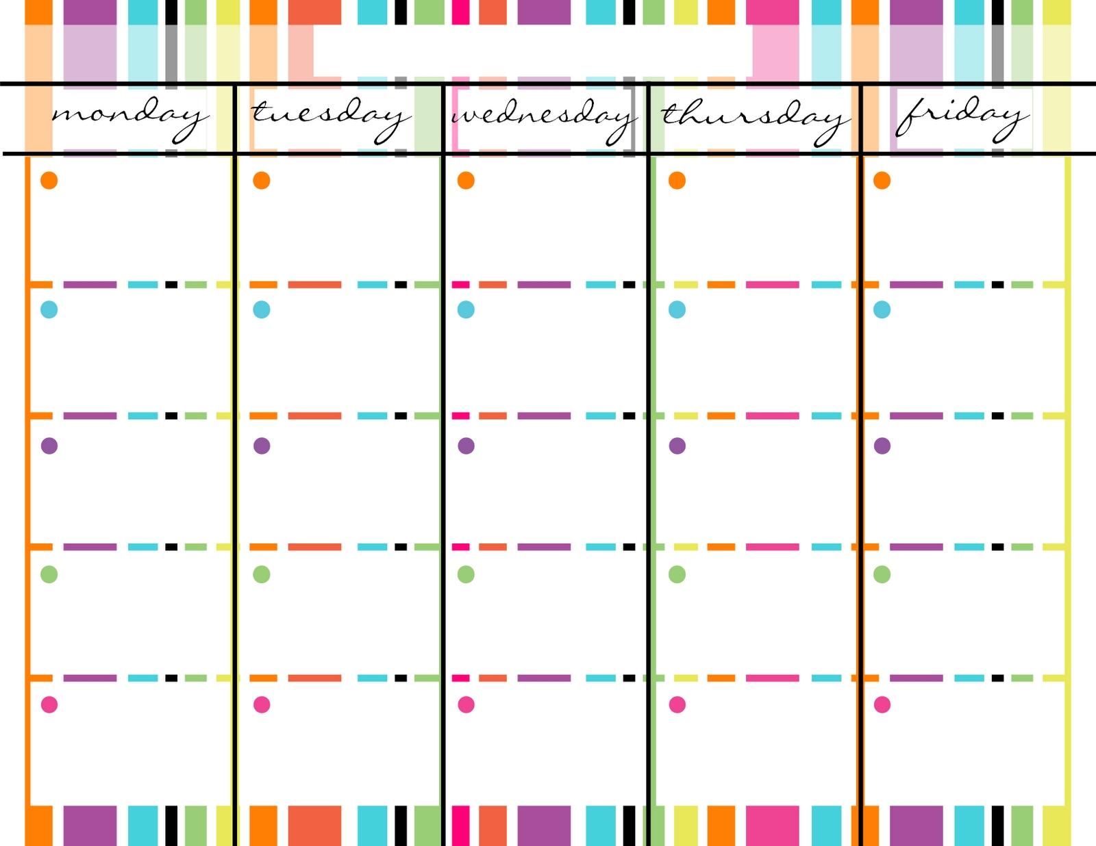 Blank Monday Through Friday Printable Calendar | Weekly