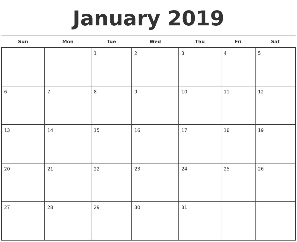 Blank Monthly Calendar 2019 – Calendar Yearly Printable