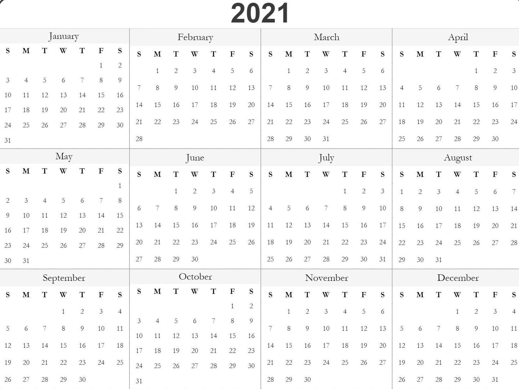 Blank Printable 2021 Calendar Template In 2020 | Free