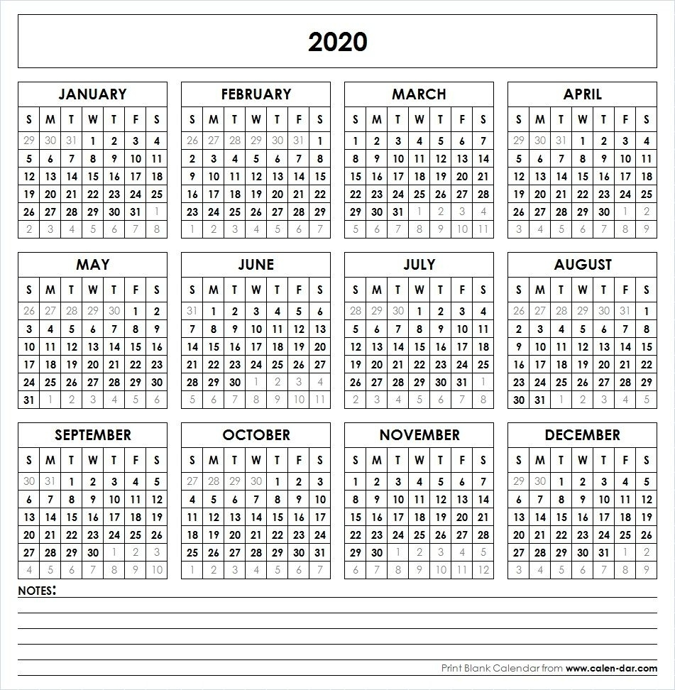 Blank Template For Printable Calendar 2020 With Notes with regard to Free Printable Year At A Glance Calendars No Download 2020