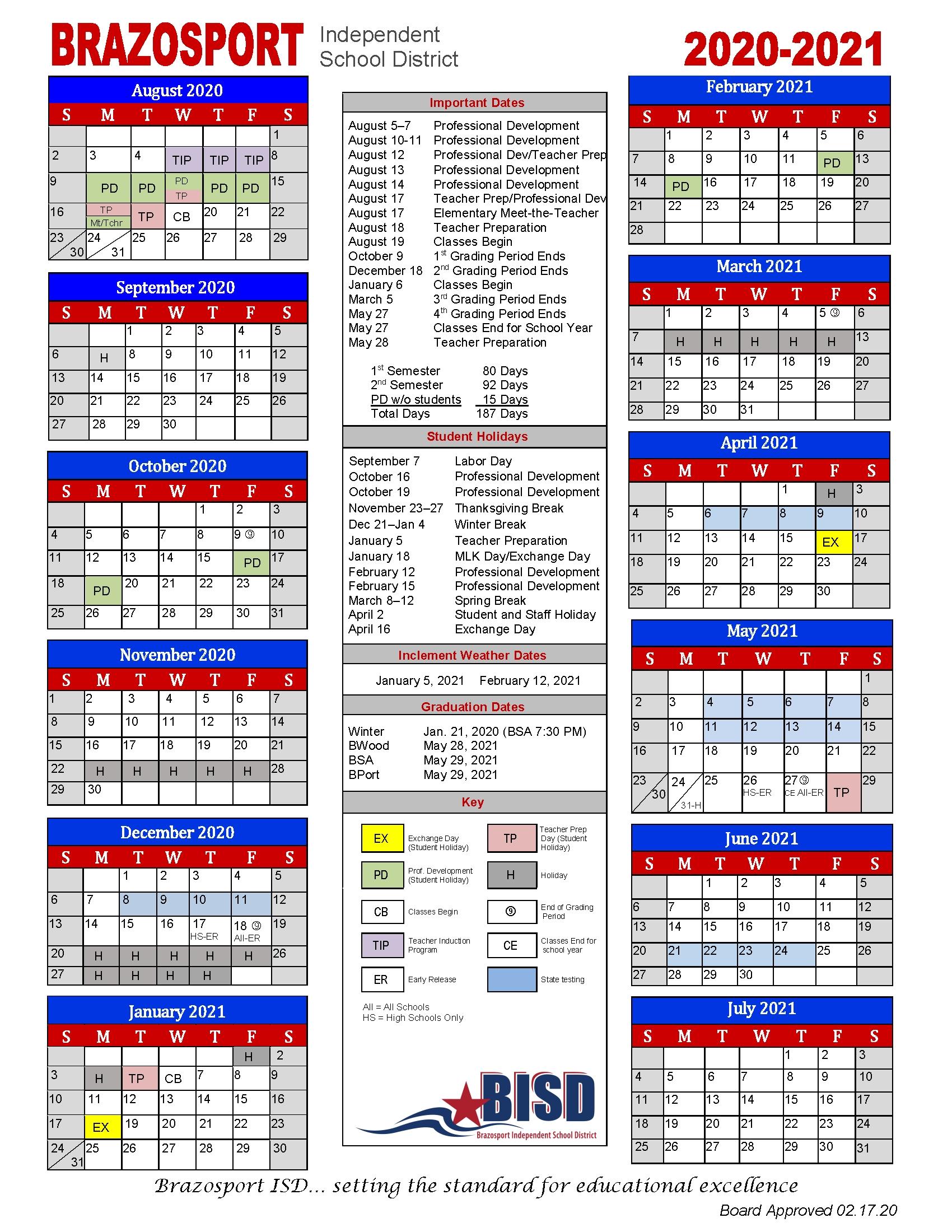 Board Approves 2020-2021 School Calendar - Brazosport with regard to Stephen F Austin Calendar 2019-2020