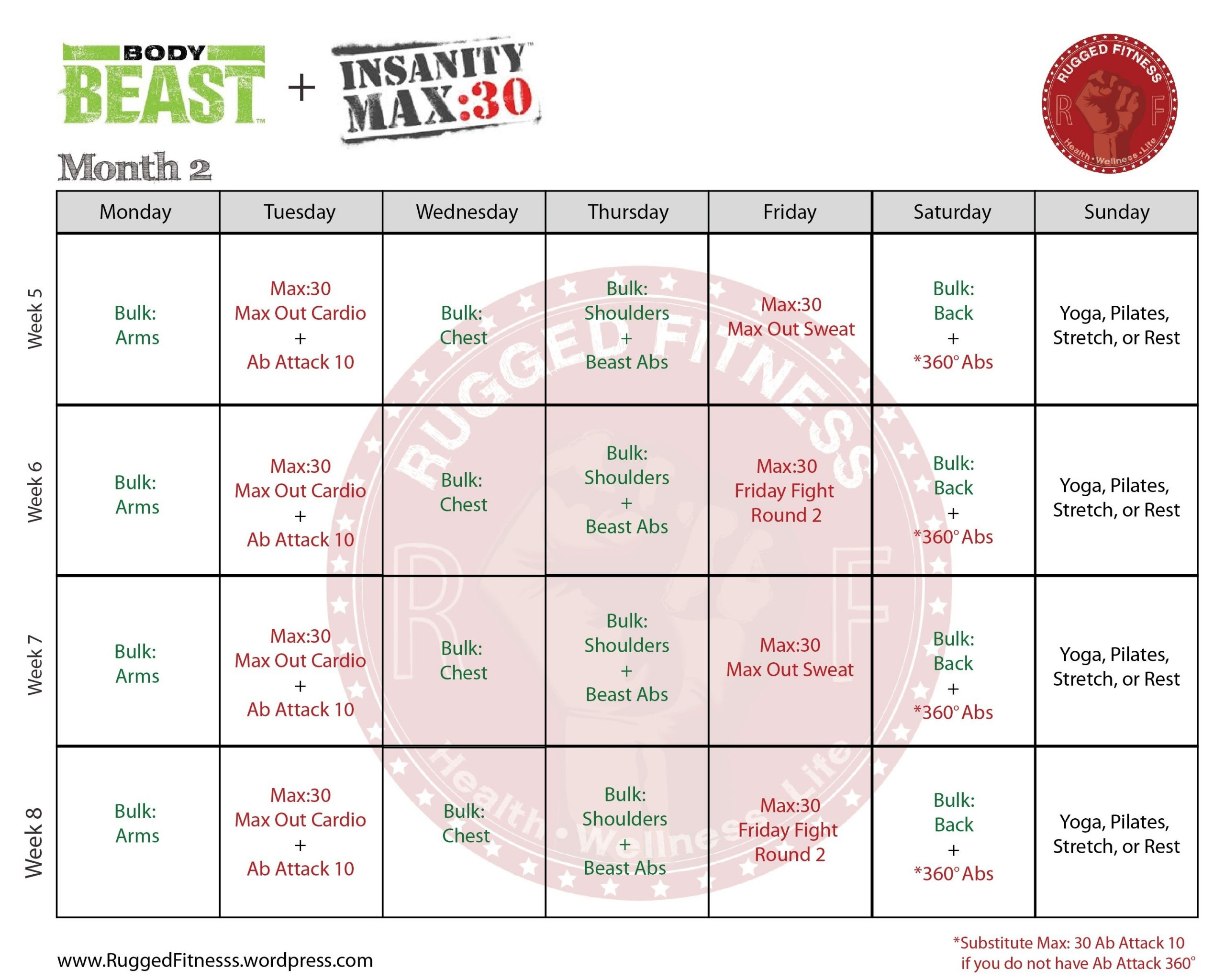 Body Beast + Insanity: Max 30 Hybrid Schedule | Body Beast