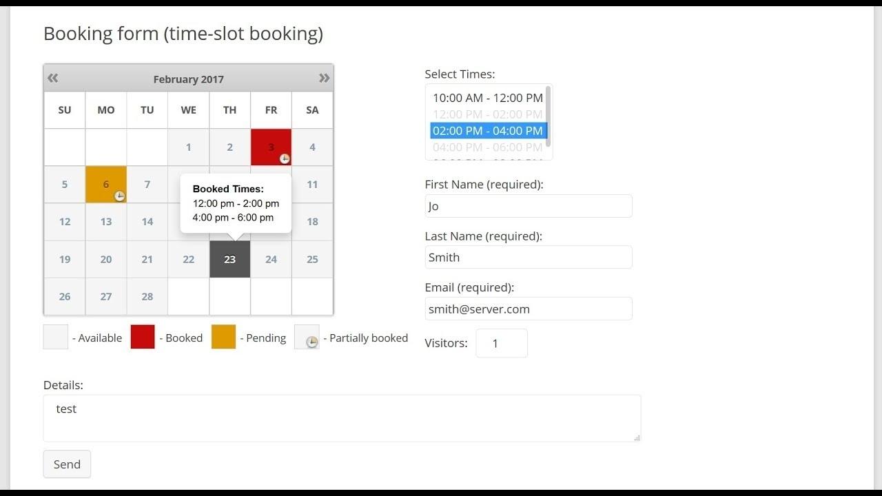 Booking Calendar - Times Bookings