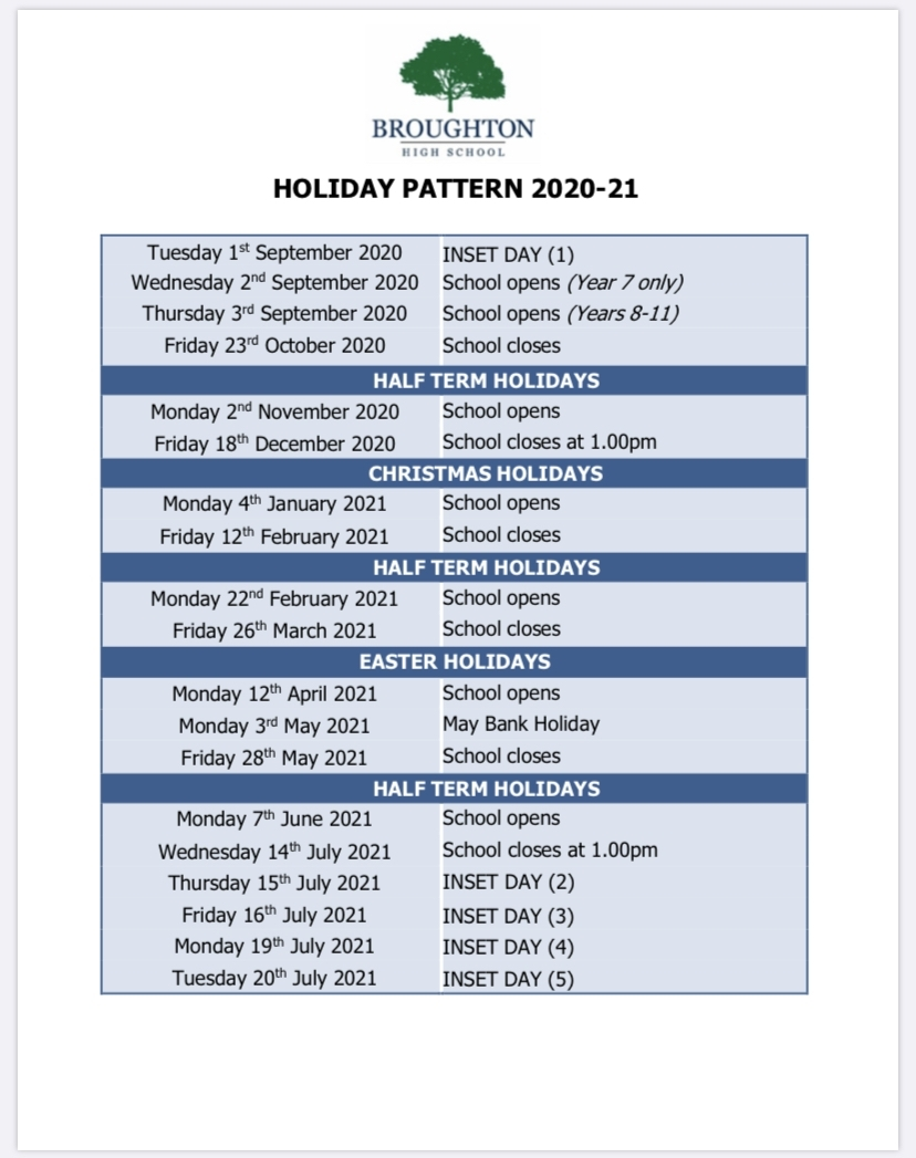 Broughton - Holiday Pattern in School Calendar For Pshe Events 2019-2020