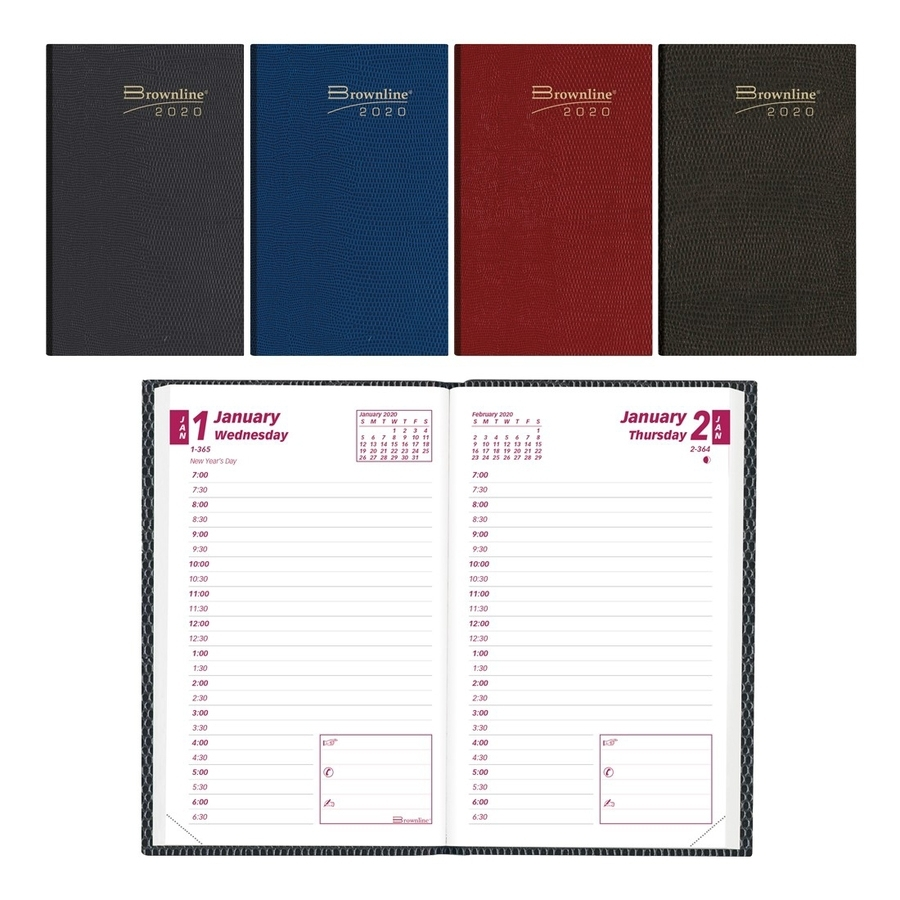 """Brownline Daily Pocket Appointment Book - Daily - 1 Year - January 2020  Till December 2020 - 7:00 Am To 6:30 Pm - 1 Day Single Page Layout - 2 7/8""""  X"""