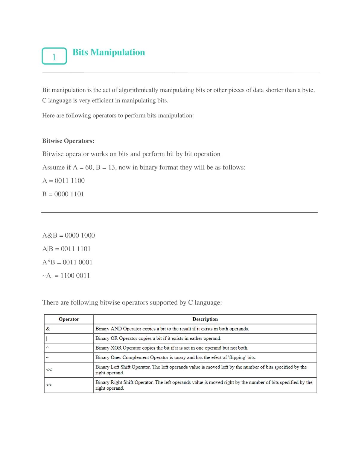 C - Bit Manipulation - 03-06-330 - Studocu
