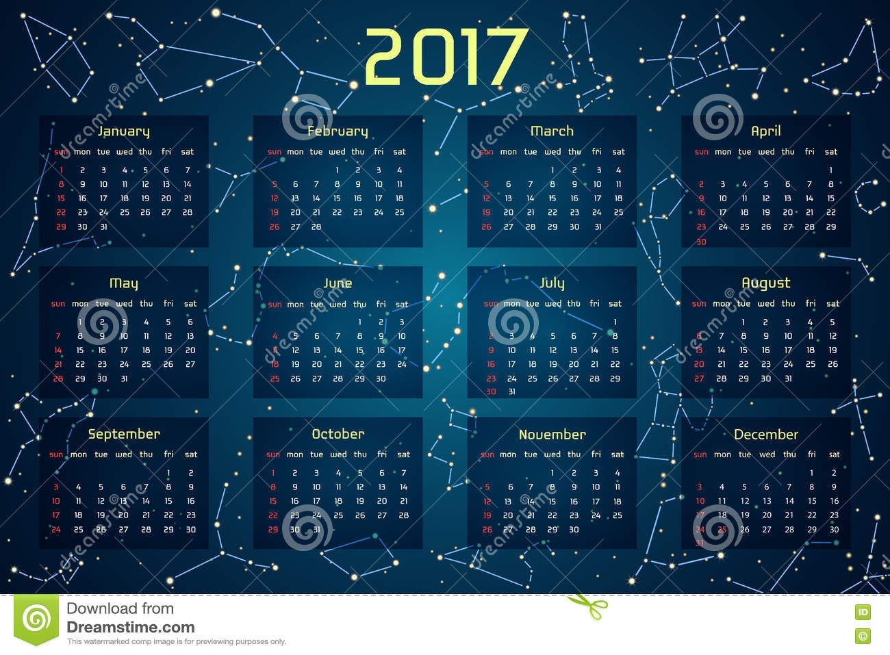 Calendar 2017 Space Style Stock Illustrations – 97 Calendar