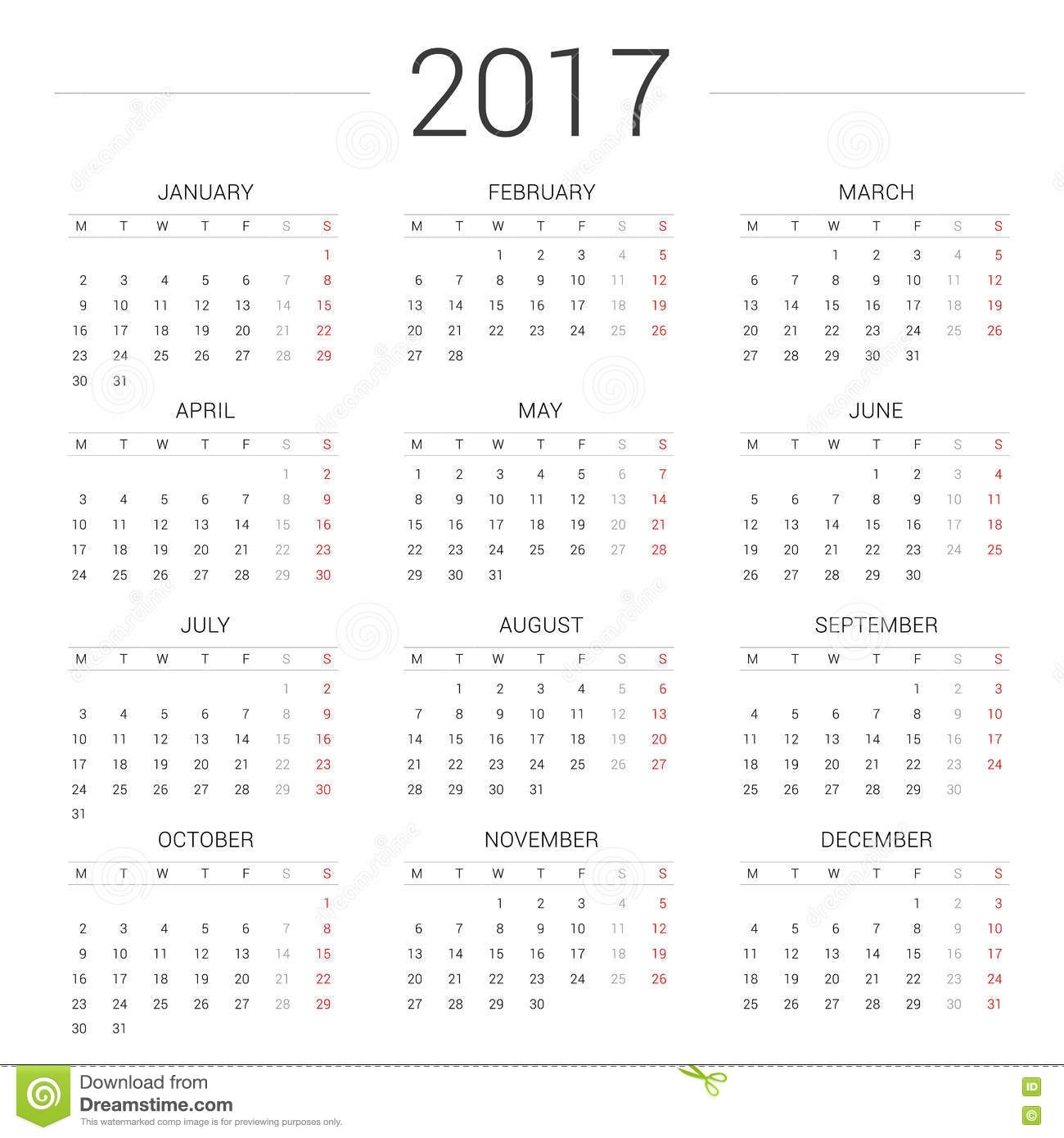 Calendar 2017 Year Simple Style.week Starts Monday Stock