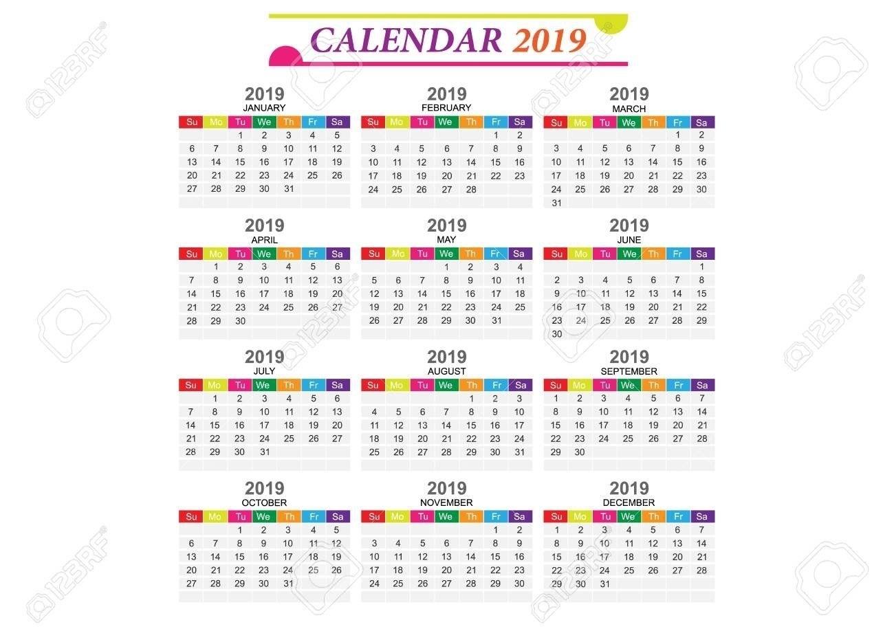 Calendar 2019 Eps In 2020 | Free Calendar Template, Calendar