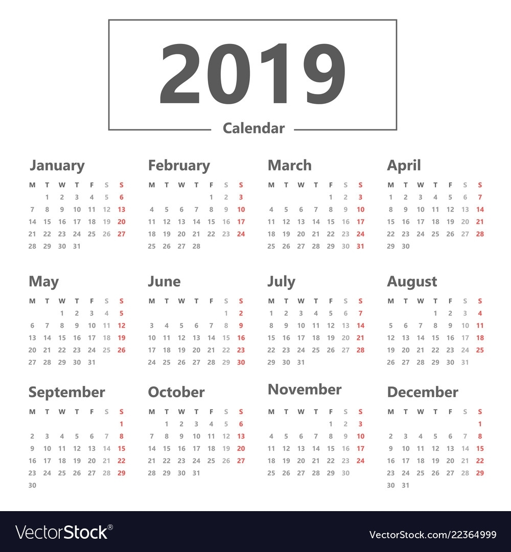 Calendar 2019 Simple Style Week Starts Monday Vector Image in Calendar That Starts On Monday