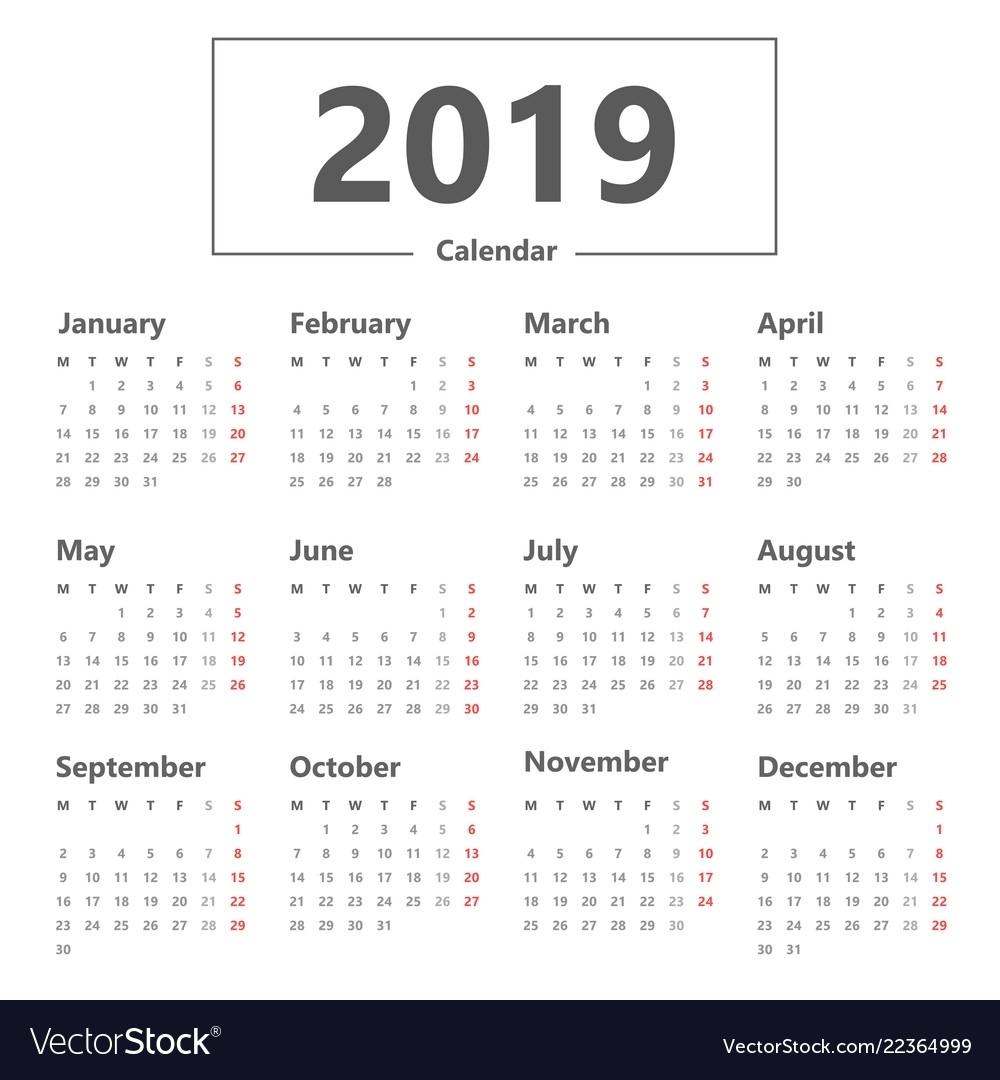 Calendar 2019 Simple Style Week Starts Monday Vector Image