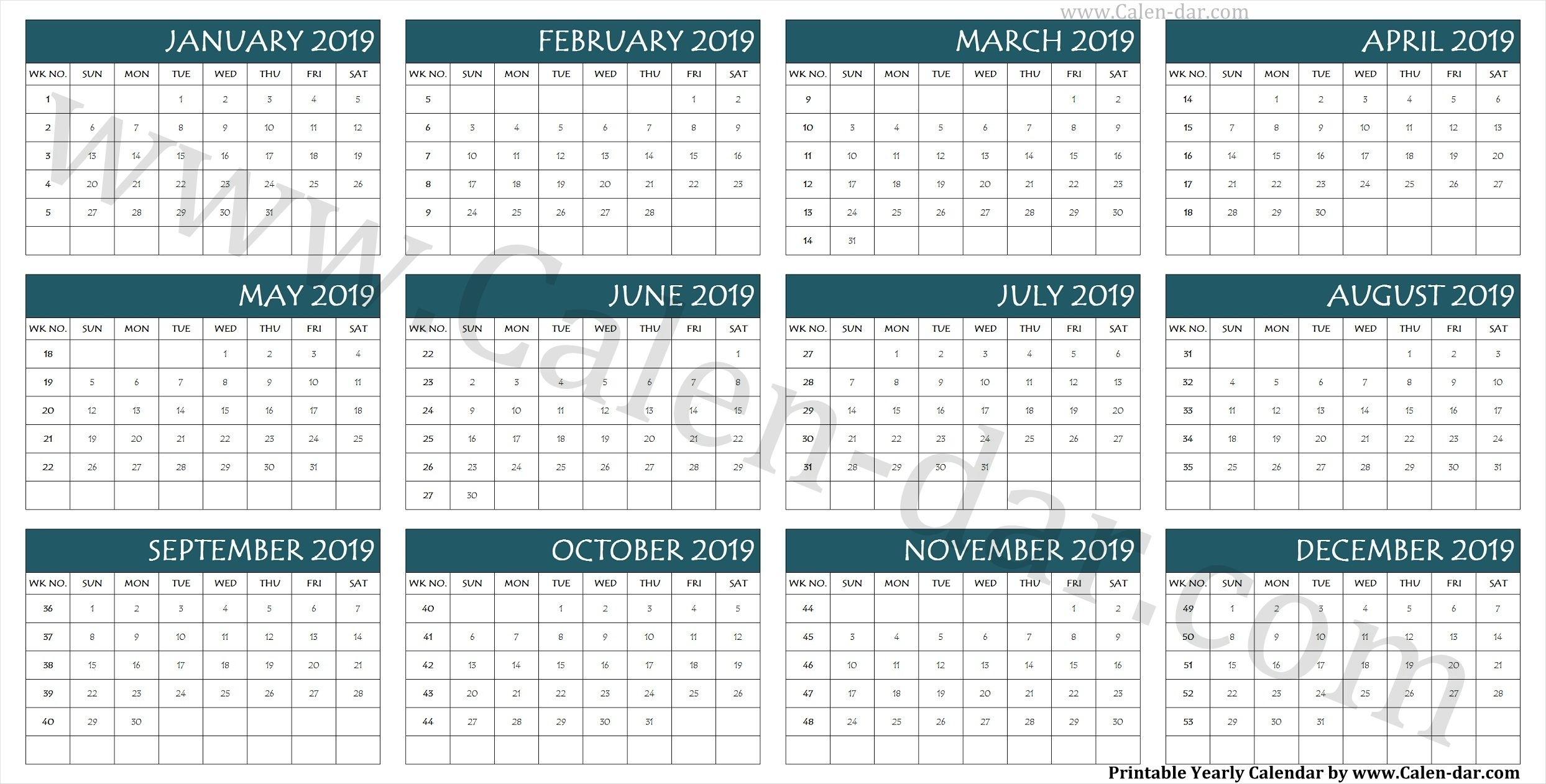 Calendar 2019 Week Wise | Calendar, Printable Yearly