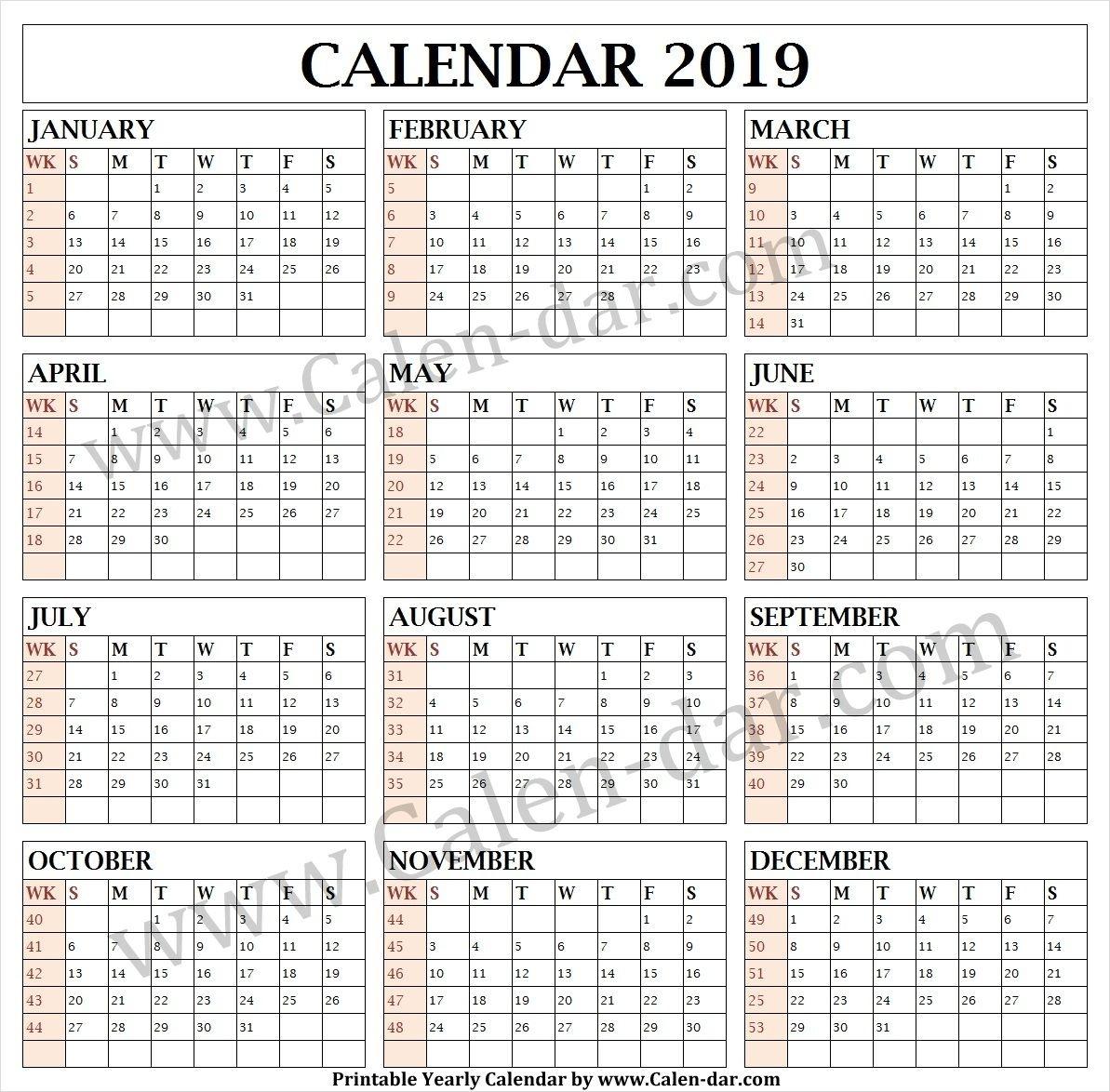 Calendar 2019 Week Wise | Calendar Printables, Print
