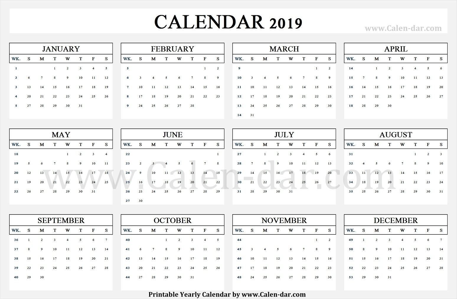 Calendar 2019 Week Wise | Printable Calendar Template