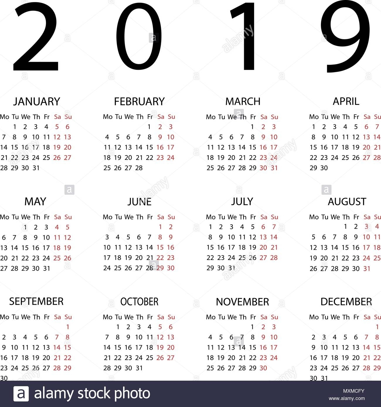 Calendar 2019 Year. Week Starts With Monday Stock Vector pertaining to Calendar That Starts On Monday