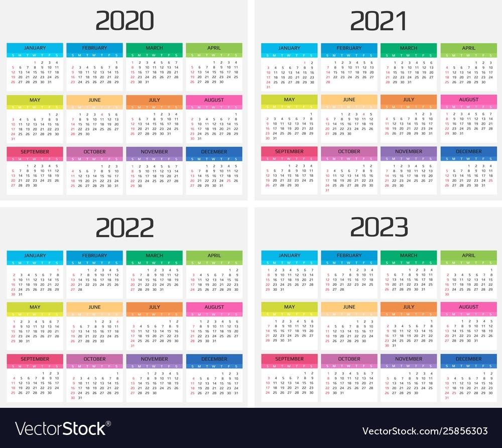 Calendar 2020 2021 2022 2023 Template 12 Vector Image