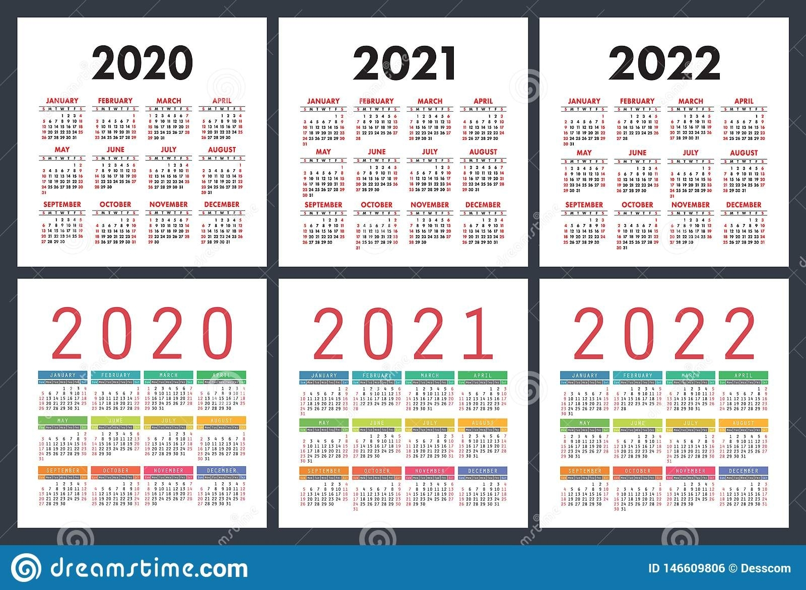 Calendar 2020, 2021, 2022 Years. Colorful Set. Pocket