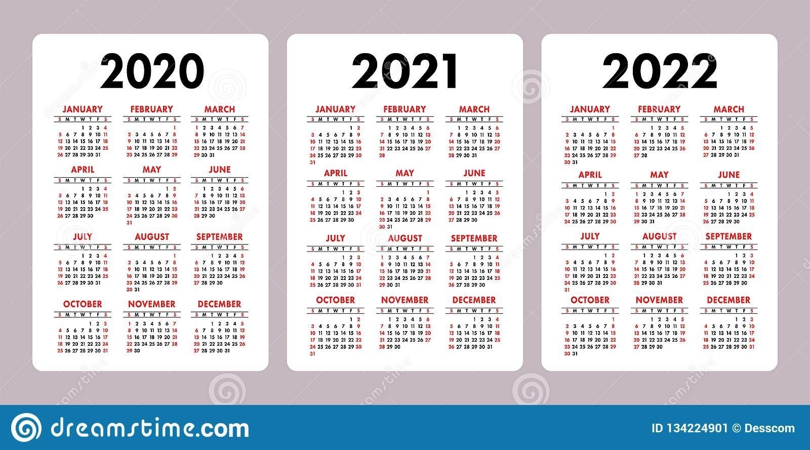 Calendar 2020, 2021, 2022 Years. Vertical Vector Calender inside 2020 2021 2022 Calendar Printable
