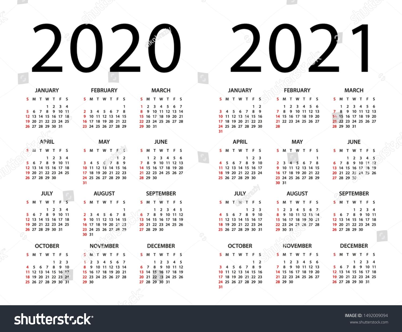 Calendar 2020 2021 Year Vector Illustration Stock Vector