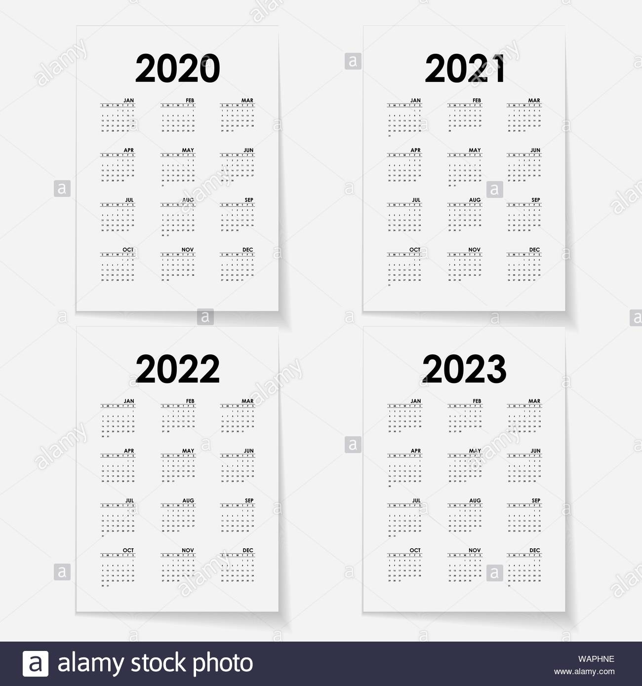 Calendar 2020, 2021,2022 And 2023 Calendar Template.calendar for Yearly 2019 2020 2021 2022 2023