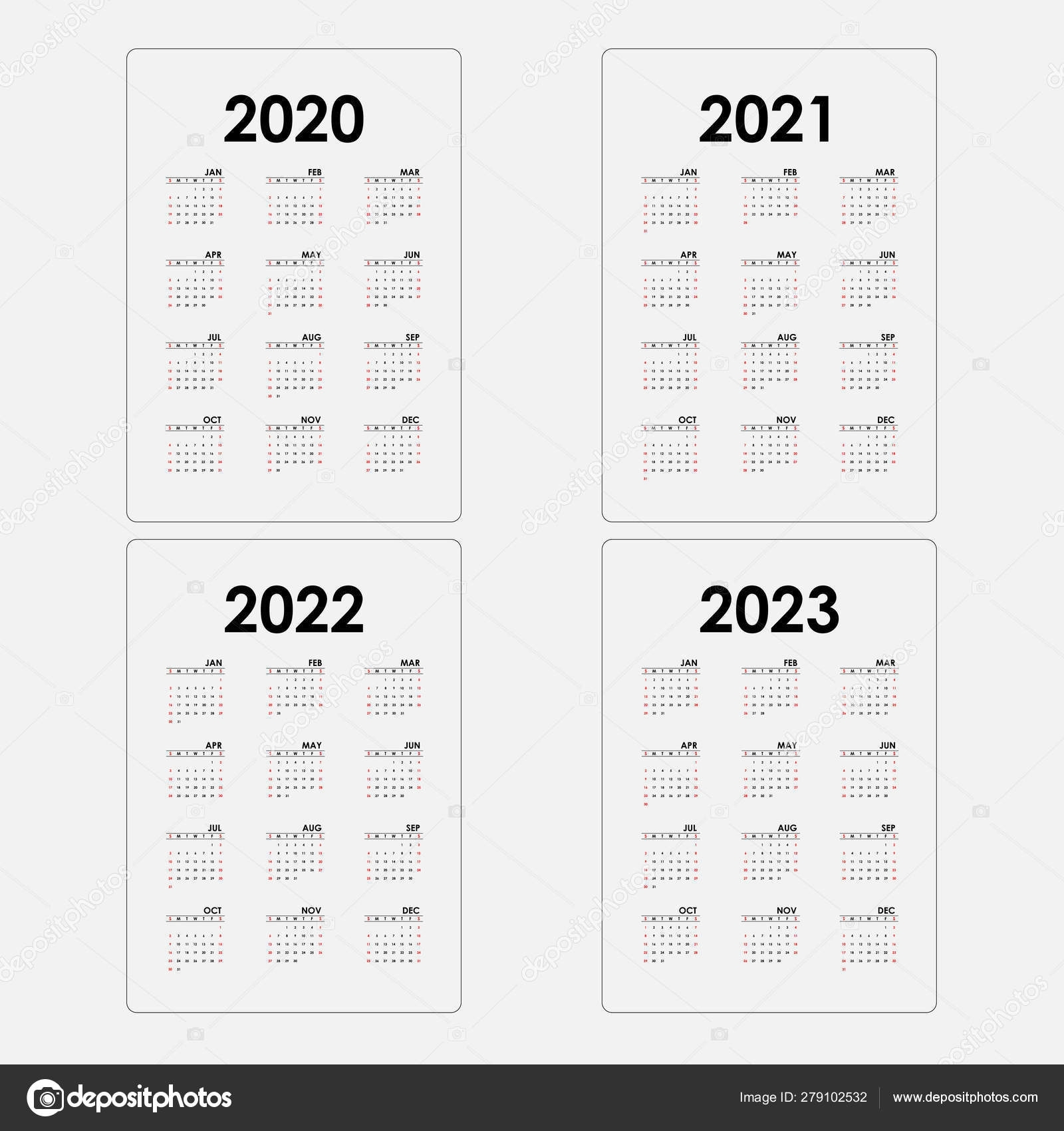 Calendar 2020, 2021,2022 And 2023 Calendar Template.yearly Calen 279102532 throughout Yearly 2019 2020 2021 2022 2023