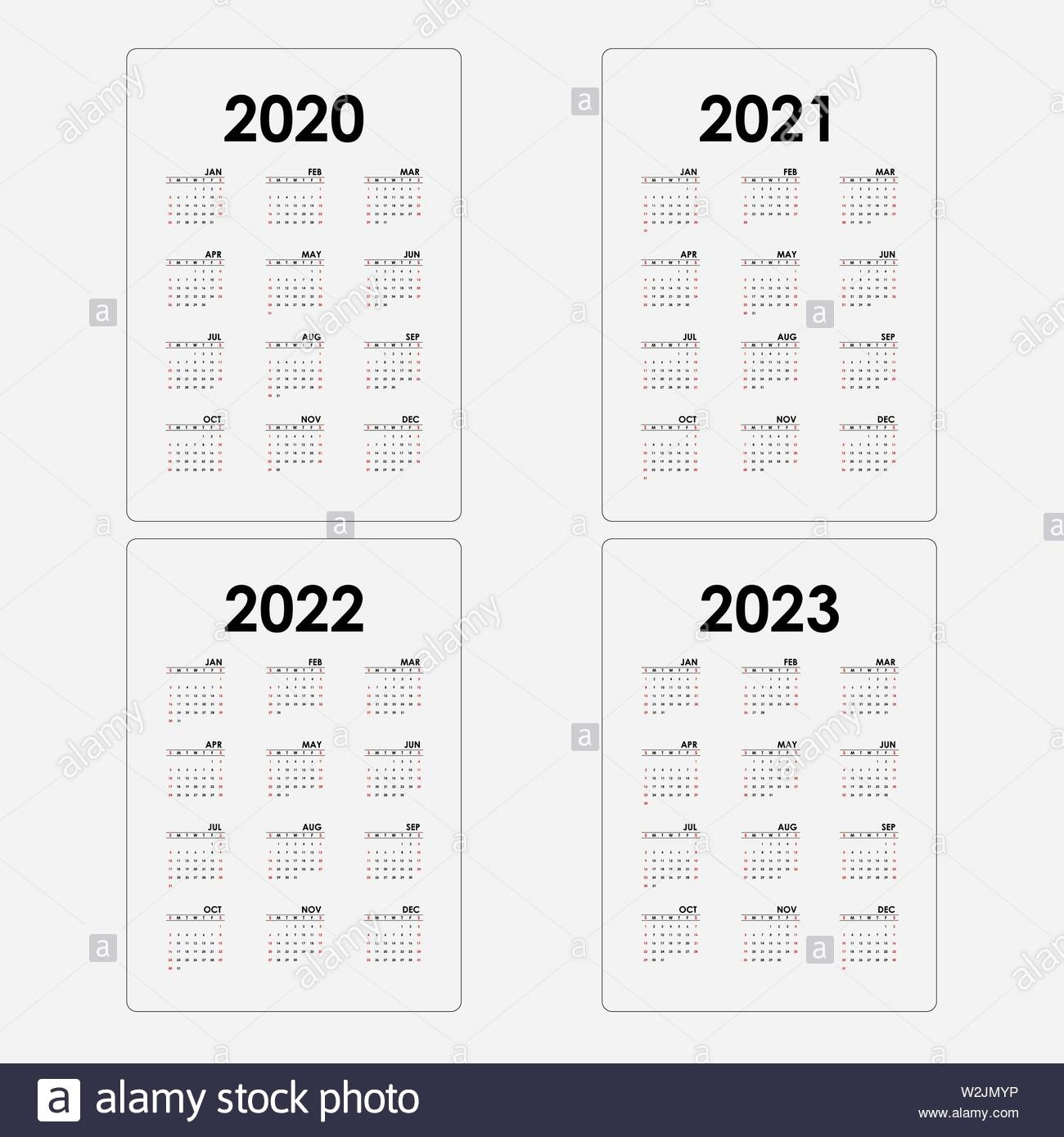 Calendar 2020, 2021,2022 And 2023 Calendar Template.yearly