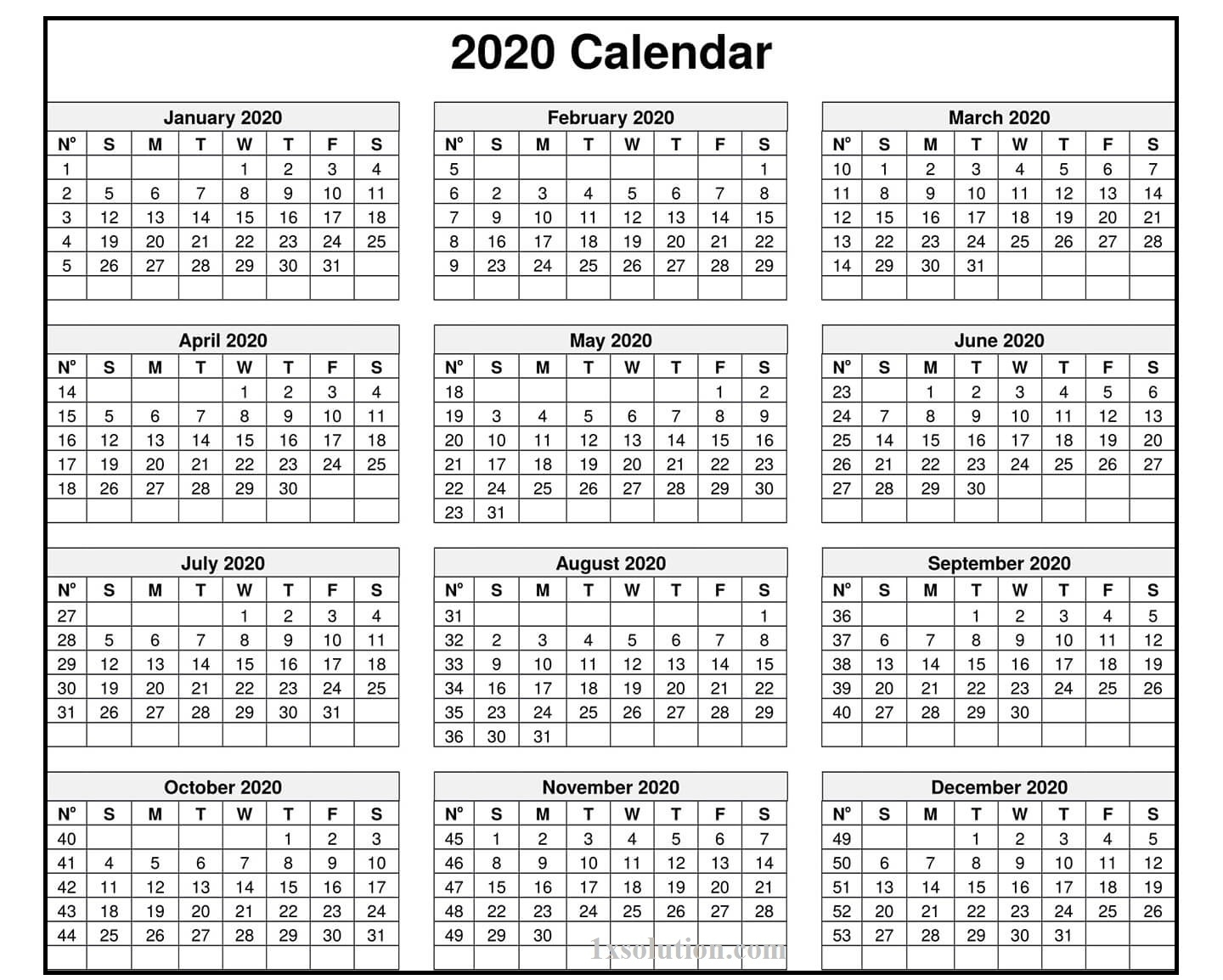 Calendar 2020 Excel Sheet – Note Your Employee Attendance inside Employee Attendance Calendar 2020 Printable Free