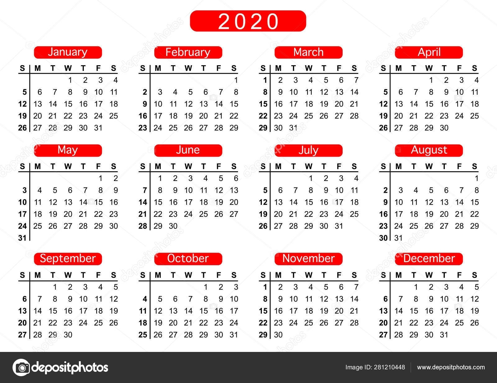 Calendar 2020, Week Starts On Sunday, Basic Business Template. Vector  Illustration 281210448 intended for Calendar For 2020 Week Wise