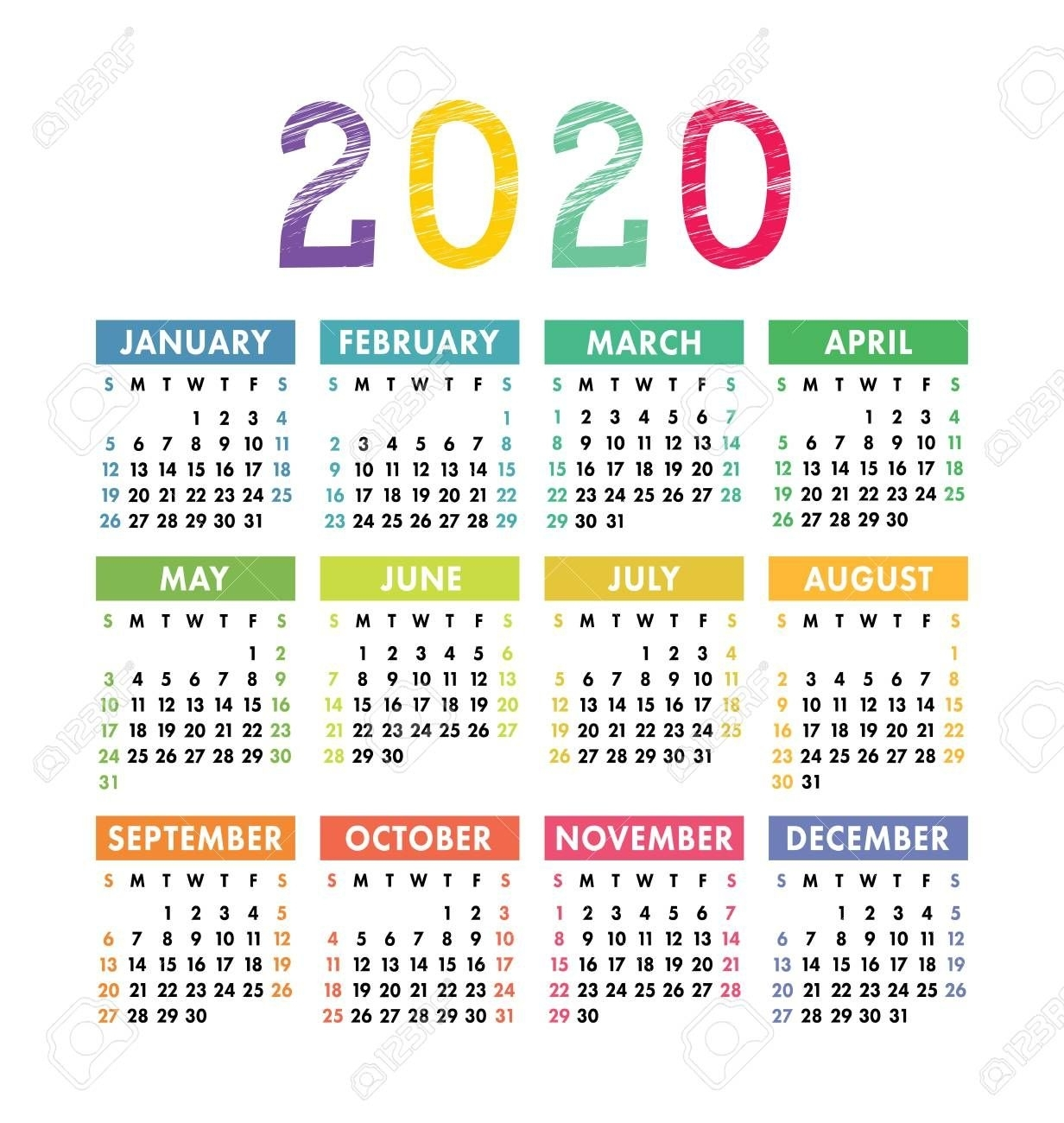 Calendar 2020 Year. Vector Pocket Or Wall Calender Template for Printable Calendars 2020 Pocket Size
