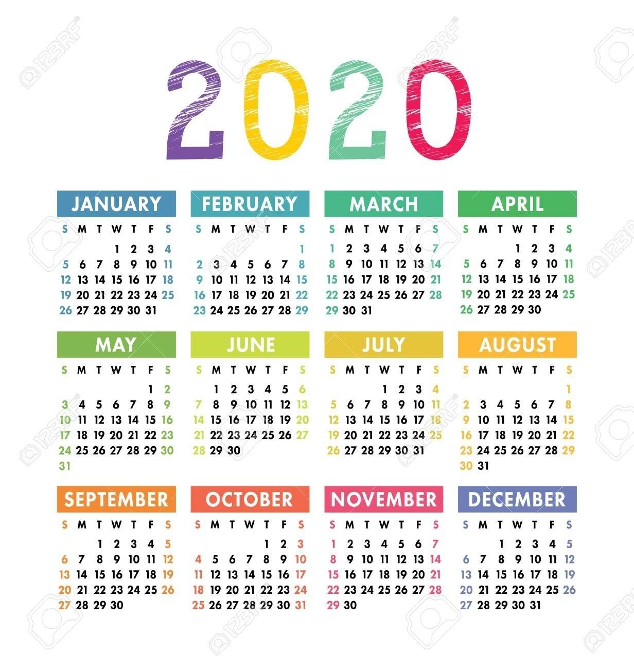 Calendar 2020 Year. Vector Pocket Or Wall Calender Template for Printable Calendars 2020 Pocket Size